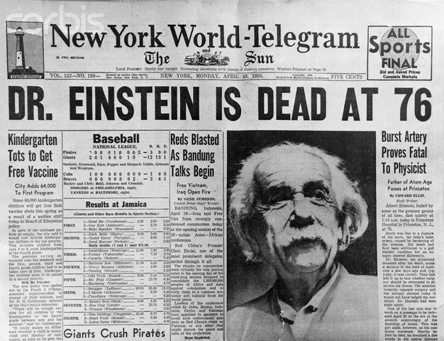 Newspaper Headline Announcing Death of Albert Einstein